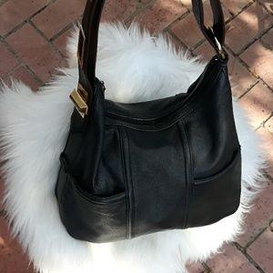 Tiganello Black Leather Shoulder Bag